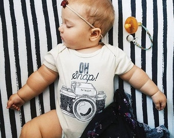 Oh Snap Vintage Camera, Photographer Baby, Girl, Infant, Toddler, Organic, Ecofriendly, Bodysuit, Outfit, One Piece, Clothes, Layette, Tee