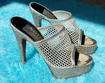 ADIGE PARIS 1970's Silver Glitter Disco Platforms with Metallic Mesh Uppers