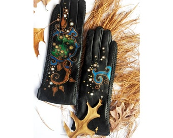 Leather gloves with drawing  - ON ORDER ONLY  - Hand painted - ready to ship - gift - autumn - gift for her - emerald  - blue - turquoise