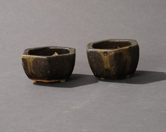 2 Mini Bonsai pot Hexagonal Dark green