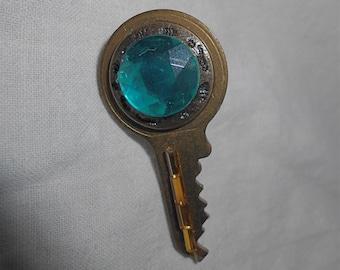 Key Brooch/Pin, Green Facets