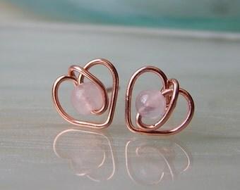 Rose Gold Heart Stud Earrings - Rose Quartz Heart Earrings - Heart Stud Earrings - Bridesmaids Gift - Girlfriend Gift