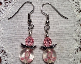 Breast Cancer Awareness Angel Earrings