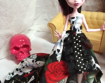 Skull and Roses High/Low Gown with Polka Dot and Lace Trim for your Monster High Doll