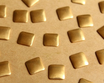 24 pc. Small Raw Brass Domed Squares: 9mm by 9mm - made in USA | RB-792