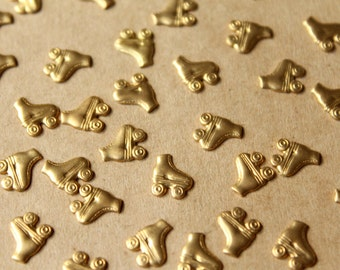 30 pc. Tiny Raw Brass Roller Skate Stampings - Right: 8mm by 7mm - made in USA | RB-724