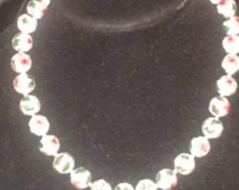 Vintage White CLOISONNE BEADS Hand Knotted
