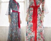 """One Custom """"Astaire"""" Style long robes in lined chiffon Full length dressing gown. Floor length long bridal robe. Valentines day gift for her"""