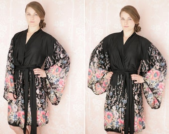 """The secret garden. One custom """"Noguchi"""" kimono robe in an exquisitely soft rayon fabric. Super soft rayon robe with pockets"""