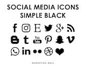 Social Media Icons Black, Social Media Buttons, Black Social Icons, Blog Icons, Website Branding, Blog Buttons, Black Buttons