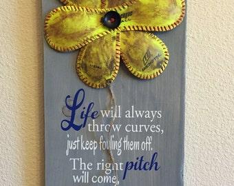 Softball Decor   Life Will Always Throw Curves, Baseball/Softball Sign  Decor, Inspirational