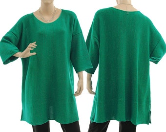 Green sweater with glitter thread, oversized green merino wool sweater, lagenlook merino wool knitwear, plus size women L-XL US size 16-20