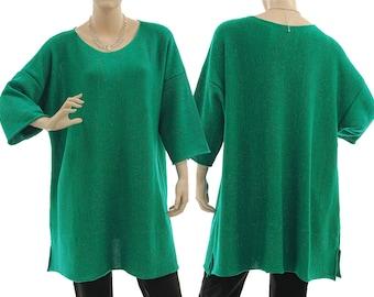 Sweater with glitter thread, oversized sweater, merino wool knitwear, sweater in green, lagenlook for plus size women L-XL US size 16-20