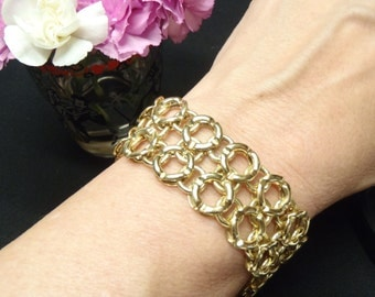 Almost One Ounce 18K Yellow Gold Wide Bracelet From Italy Statement Piece
