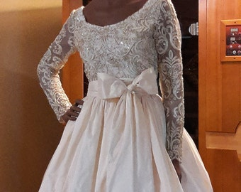 Ava Elegant Two-Piece Lace Silk Wedding Dress. Beaded Corded Lace. Inside Pockets. Petticoat. Handmade. All Sizes. Plus Size Available.
