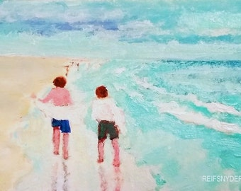 ACEO painting, Beach original small miniature, two boys figures, seashore children friends, brothers, blue, people, trading card, mini art