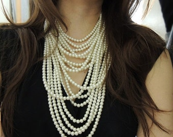 SALE - Couture Pearl Statement Necklace - Multi Strand Pearl Necklace - Layer Pearl Necklace - Big Chunky Necklace