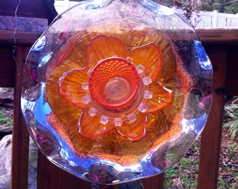 Glass Garden Flower-Golden Light Recycled Garden Decor