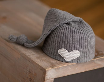 Newborn Upcycled Hat Gray Sleepy Time Hat Neutral Newborn Hat Newborn Boy Hat Newborn Girl Hat Ready to Ship Photography Prop Grey Hat rts