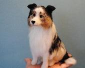 Australian Shepherd, Needle Felted Dog, Felted Pet Portrait, English Shepherd, Collie, Shetland Sheepdog or any other breed- made to order