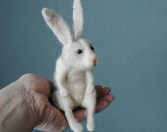 Needle Felted Rabbit, Felt Hare, Handmade Animal,  Rabbit Doll - READY TO SHIP
