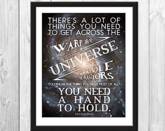 A Hand To Hold - Doctor Who Poster, Doctor Who Quote