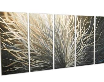 Metal Wall Art Decor Abstract Contemporary Aluminum Modern Sculpture Hanging Zen Textured- Radiance Gold Silver 36x79