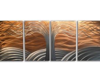Metal Wall Art Aluminum Decor Abstract Contemporary Modern Sculpture Hanging Zen Textured - Tree of Life Bright Copper