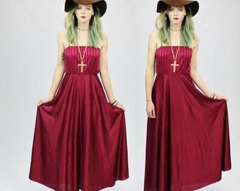 SUMMER SALE 35% OFF 1970s Burgundy Boho Gypsy Disco Maxi Dress