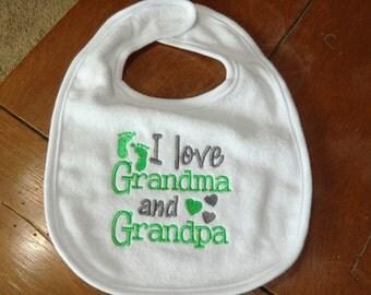 Embroidered Baby Bib - I Love Grandma & Grandpa - Green/Gray/Neutral