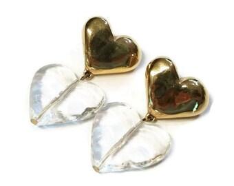 Vintage Givenchy Double Heart Pierced Dangle Earrings