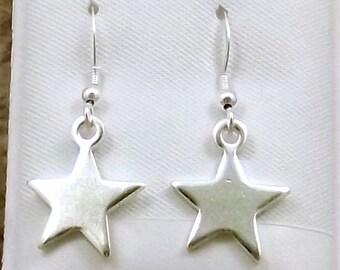 Sterling Silver Star Charms on Sterling Silver Ear Wire Dangle Earrings - 0622