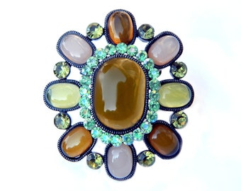 Autumn Glass Pendant Brooch Open Back Multi Color Glass Peridot Green Amber With Aqua Green Rhinestones Autumn Jewelry Miracle Style