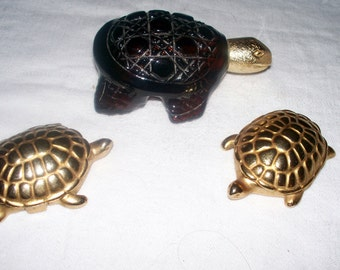 Vintage Avon Turtle Perfume Bottles - Used - Solid Perfume - Candid - Honesty - 3 Pieces