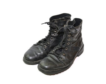 Vintage Black Combat Boots Black Boots Black Motorcycle Boots Leather Boots