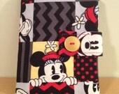 Passport Wallet, Passport Cover - 2 Passports -Vintage Mickey and Minnie, Black Interior