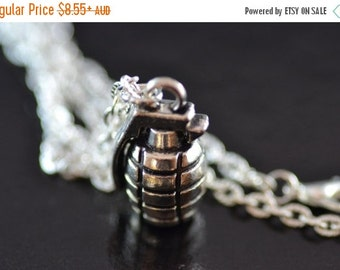 SALE Grenade Necklace, NG015, Bruno Mars, Camo, Army, Bomb, Goth, Weapon