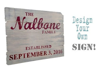 Design your own SIGN - Custom Distressed Wood Sign - Fence Sign - Pick your color and Design - Nursery Sign - Wedding Sign - Wood Sign 18x14