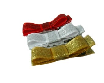 Glitter Hair Clips, Girl Hair Clip, Gold Hair Clip, Silver Hair Clip, Red Hair Clip, Sparkly Tuxedo Bows