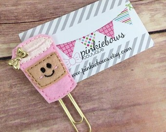 Pink/Gold/Latte Applique Paper Clip/Planner Paper Clip/Bookmark/Marker/Jounal Paper Clip