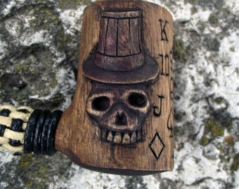Unique Handmade Poker Star's Pipe, carved with the Joker, Skull & card symbols with knotted stem, texas hold'em, gamblers pipe