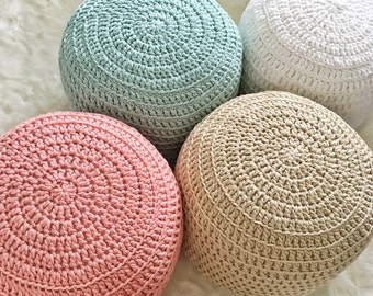Custom Color-Block Hand Crochet Pillow Ottoman Pouf, Footstool, Cushion! STUFFED! Perfect gift for baby showers!