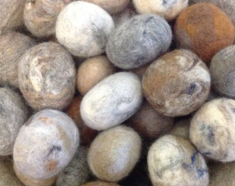 20 Pure Wool, Felt Pebbles, Beach Stones, Home Decor.