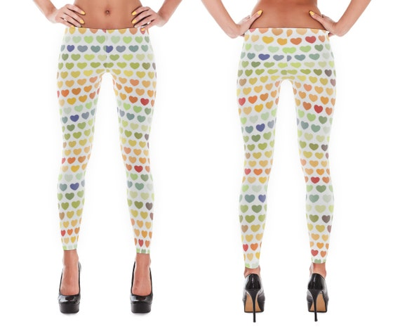 Stretchy, Cozy, Polyester (spandex) Leggings (HEARTS Rainbow Vintage Pattern) - (Adult)