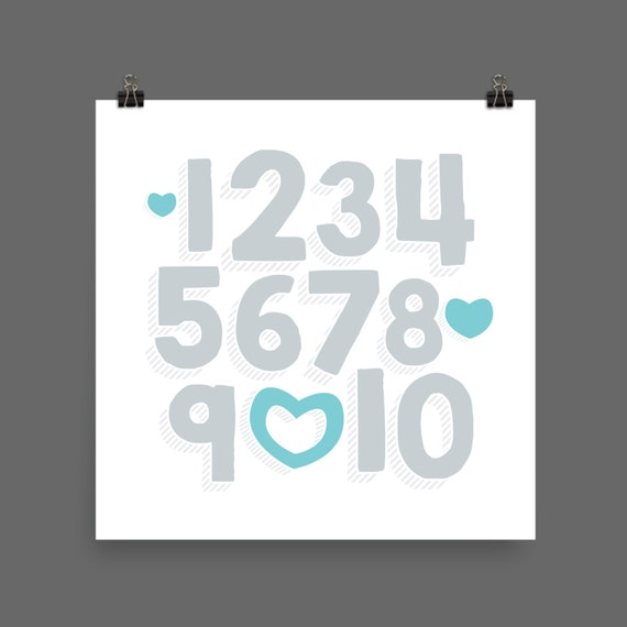 I LOVE YOU (Silver & Turquoise) Numbers Poster Print - Nursery, Kids Room, Wall Art Modern