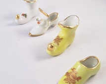 Set of Four Miniature Porcelain Shoes. Housewarming  Gift, Thank You Gift, Hostess Gift