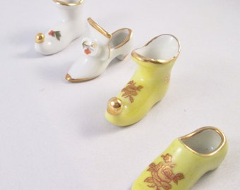 Set of Four Miniature Porcelain Shoes. Housewarming  Gift, Thank You Gift, Hostess Gift, Mothers Day Gift, Fathers Day Gift, Collectible