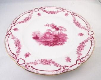 1925 Mintons Magenta Landscape Transfer Plate,Magenta Floral Border, Gold Trim.  Housewarming Gift, Valentine Gift, Collectible