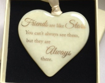 "Fused Glass Heart with 22 carat Gold Text ""Friends are Like Stars"" Can Be Personalised"