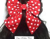 Red PolkaDots Hair Bow, Large Hair Bow, Cheer Bow, Handmade Bow, Anime Bow, Cosplay Bow, Bow For Girls, Kawaii Bow, Minnie Mouse Hair Bow